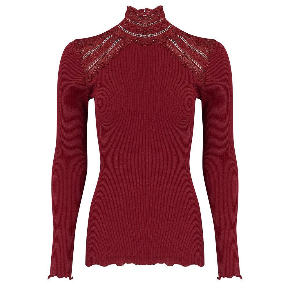 Turtleneck Silk Blend T-shirt - Cabernet