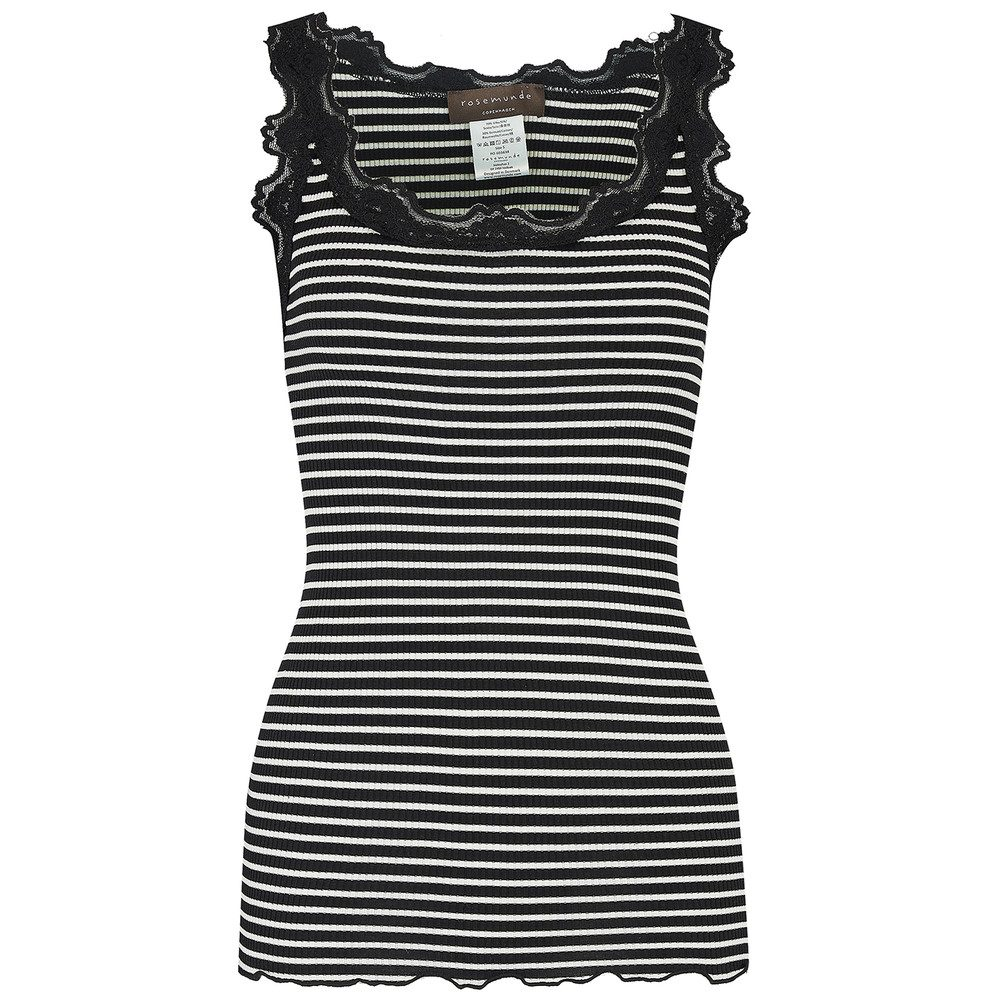 Silk Blend Top - Black & Ivory Stripe