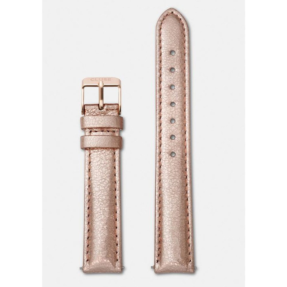 Minuit Metallic Leather Strap - Rose Gold