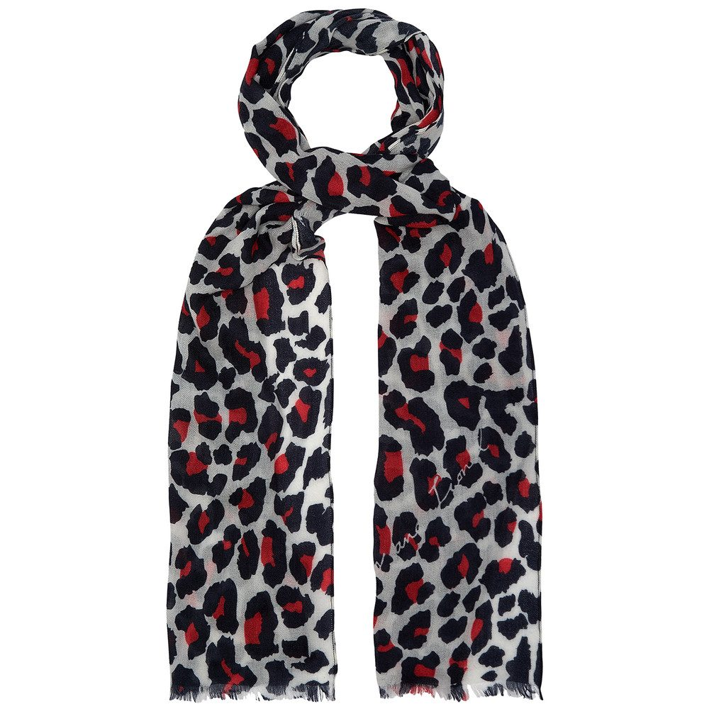 Leila Leopard Cashmere Scarf - Monochrome & Red