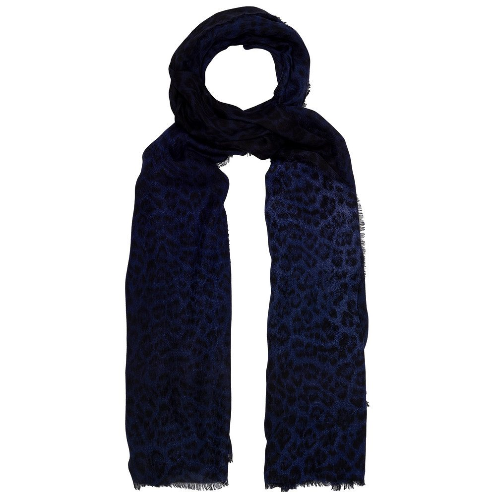 Florence Leopard Double Sided Scarf - Navy