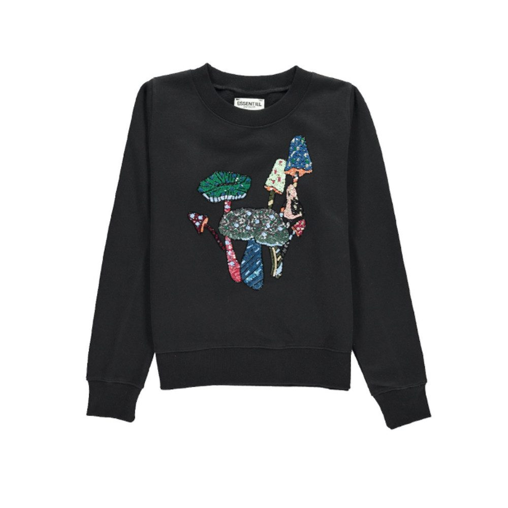 Onegara Sequin Embroidered Sweater - Black