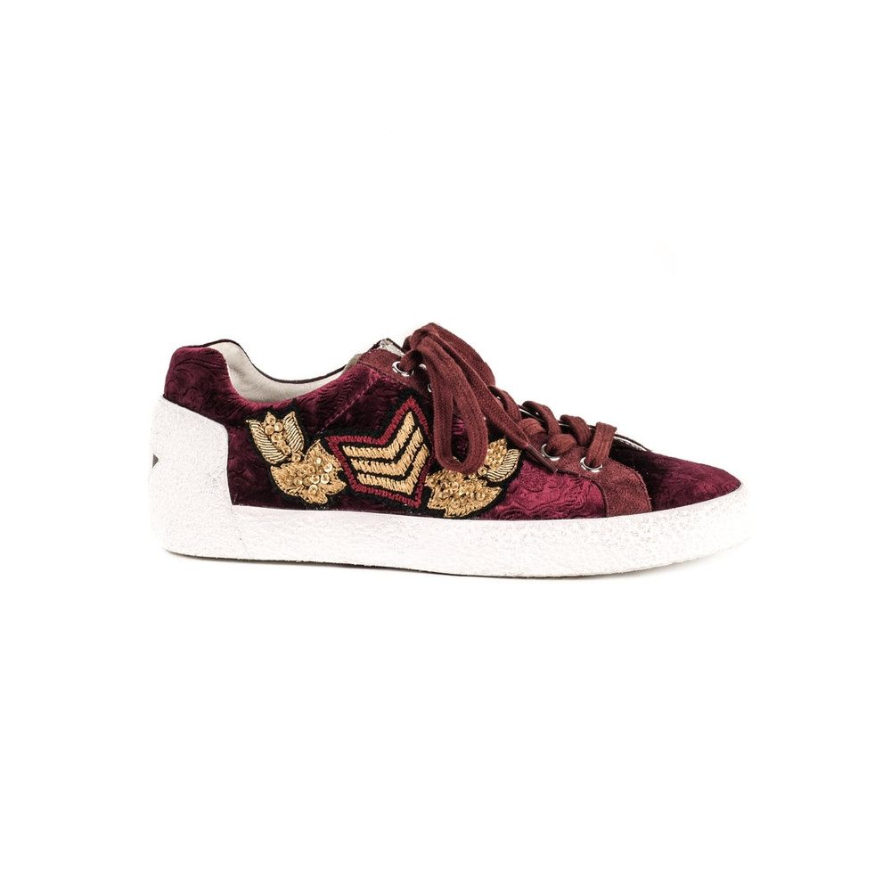 Nak Arms Velvet Embellished Trainers - Bordeaux