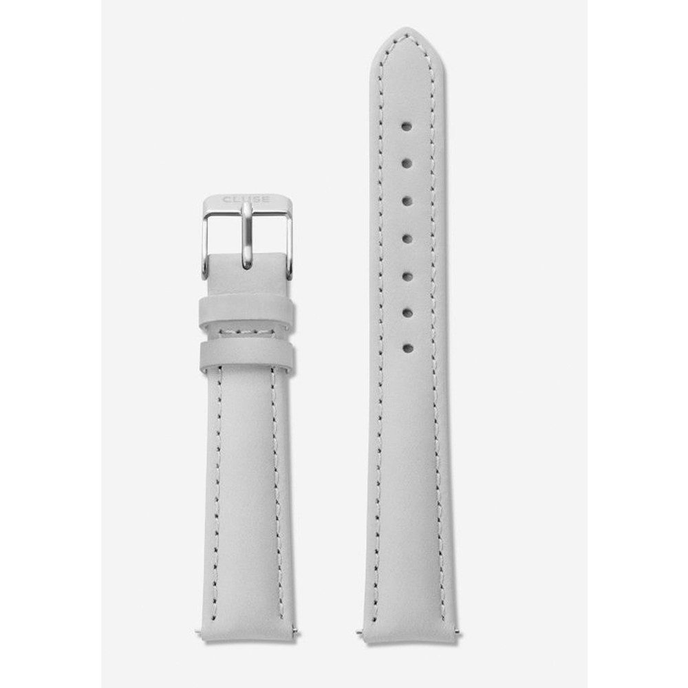 Minuit Leather Strap - Grey & Silver