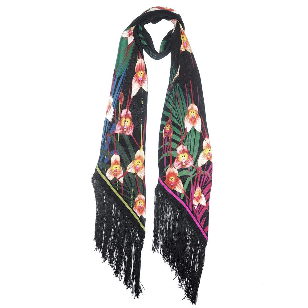 Monkey Orchid Classic Skinny Fringed Scarf - Black