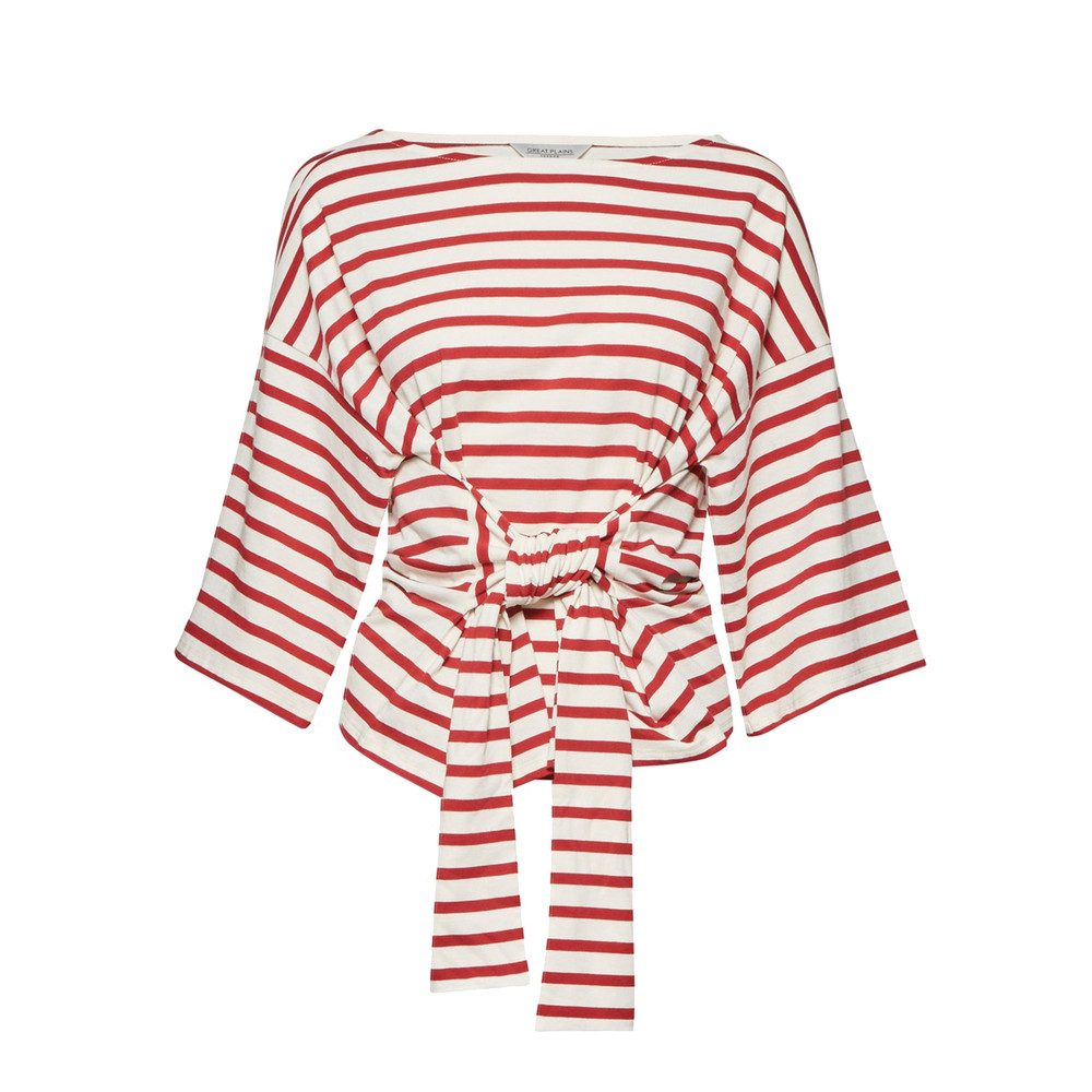 Take It Away Belted Tee - Cream & Redcurrant