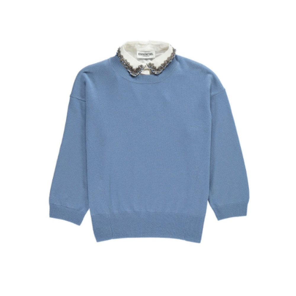 Ofisho Knitted Sweater & Detachable Embellished Collar - Grey Blue