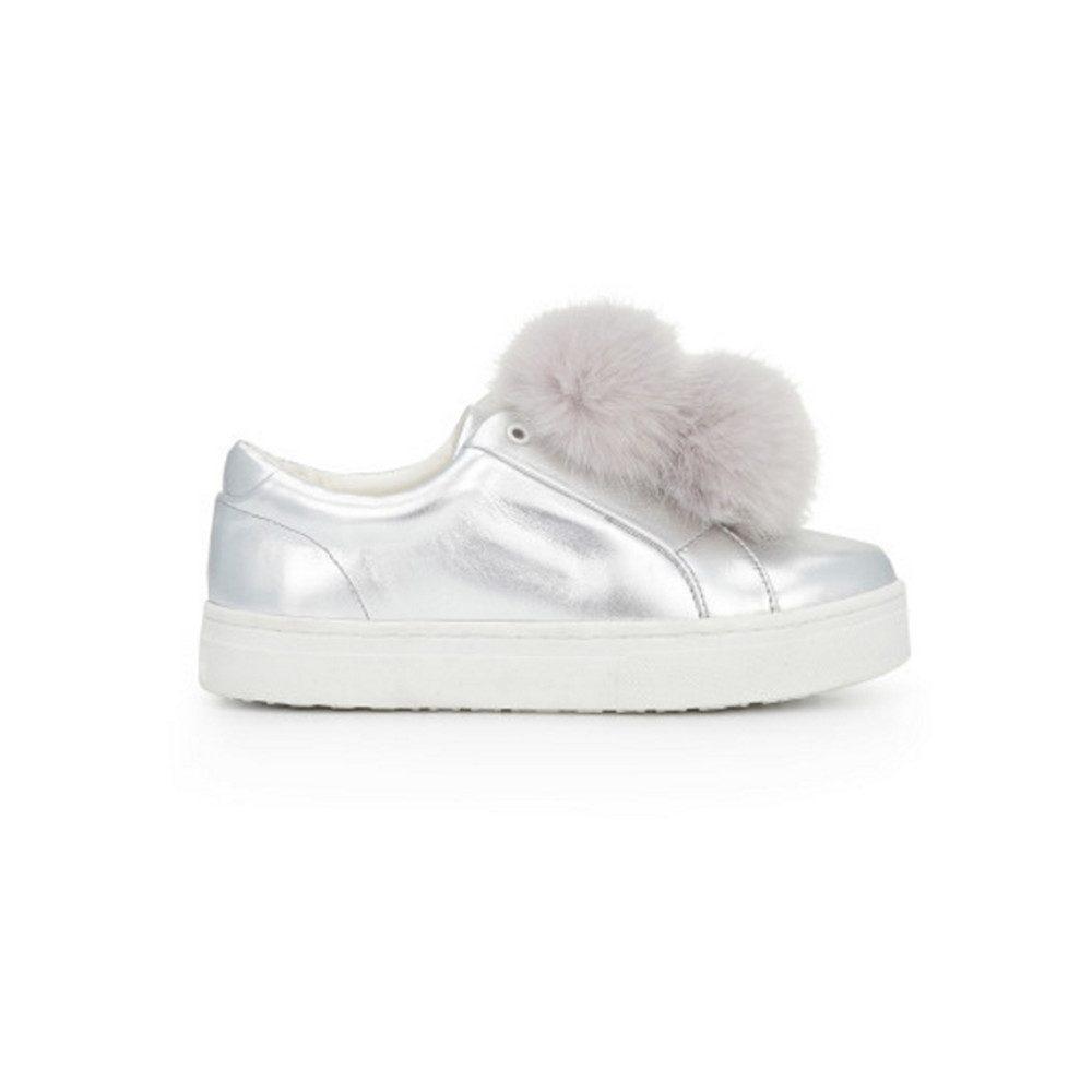 Leya Faux Fur Pom Pom Trainers - Soft Silver