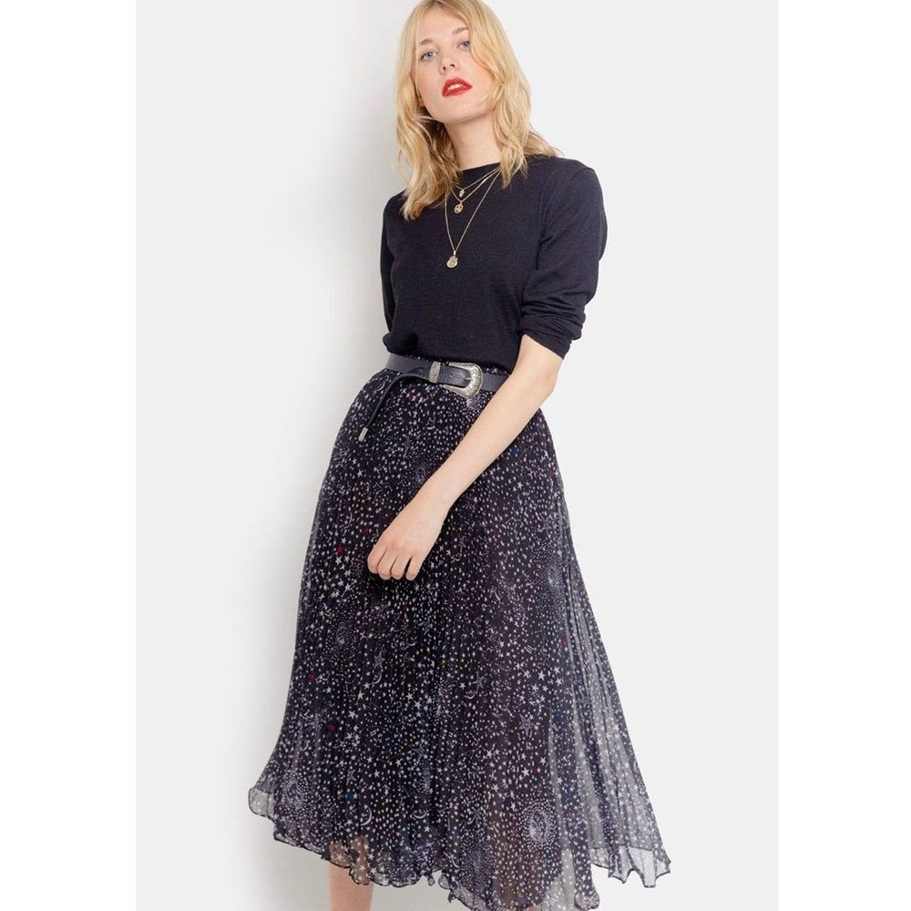 Pleated Midi Skirt - Celeste Black