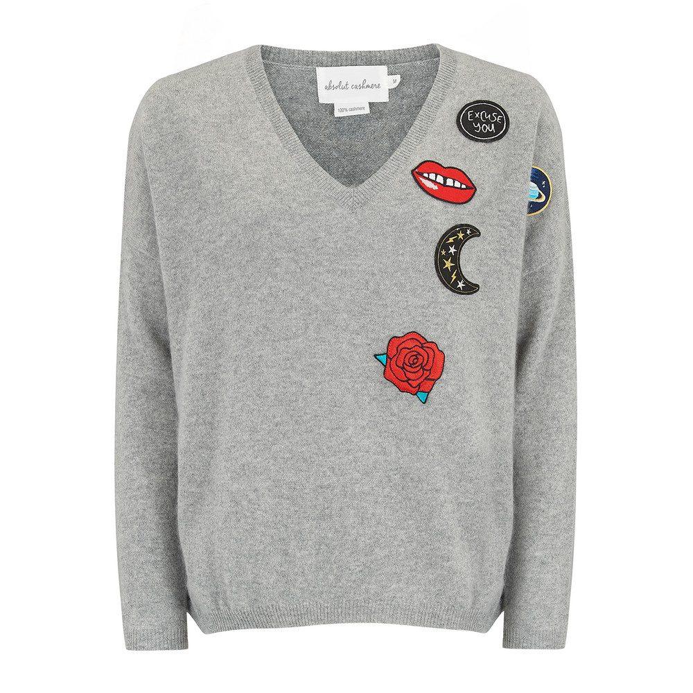 V Neck Badge Sweater - Grey