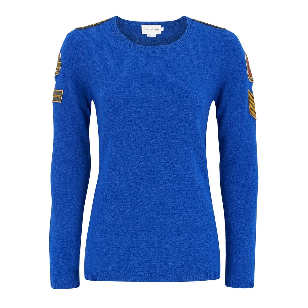 Military Badge Sweater - Electric Blue