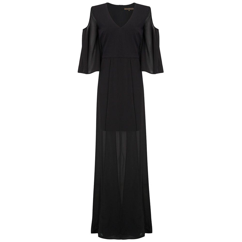 Drop Sleeve Maxi Dress - Black