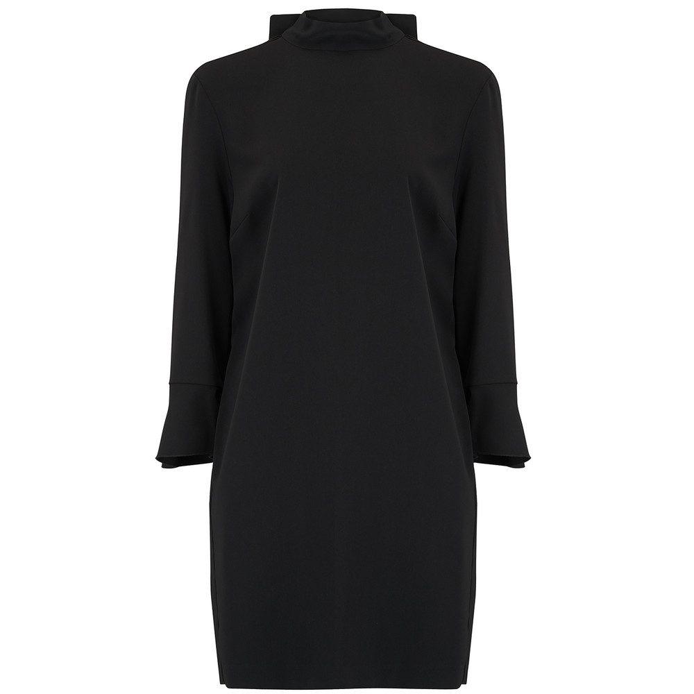 Back Ruffle Detail Dress - Black