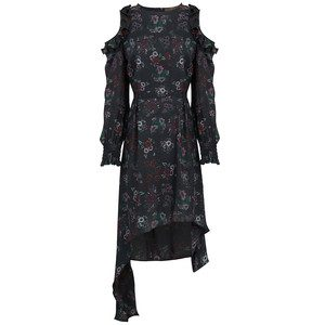 Drop Sleeve Floral Dress - Black Floral