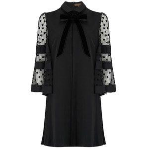 Spot Velvet Sleeve Dress - Black
