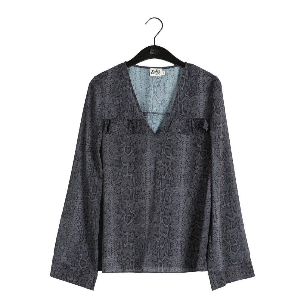 Nellie Printed Blouse - Grey Snake