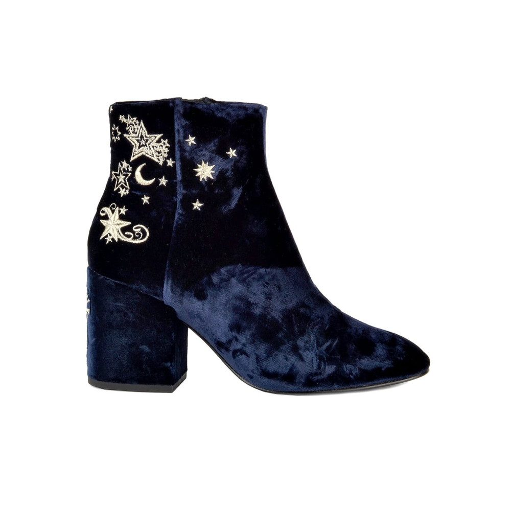 Elixir Nadine Velvet Embroidered Boots - Midnight