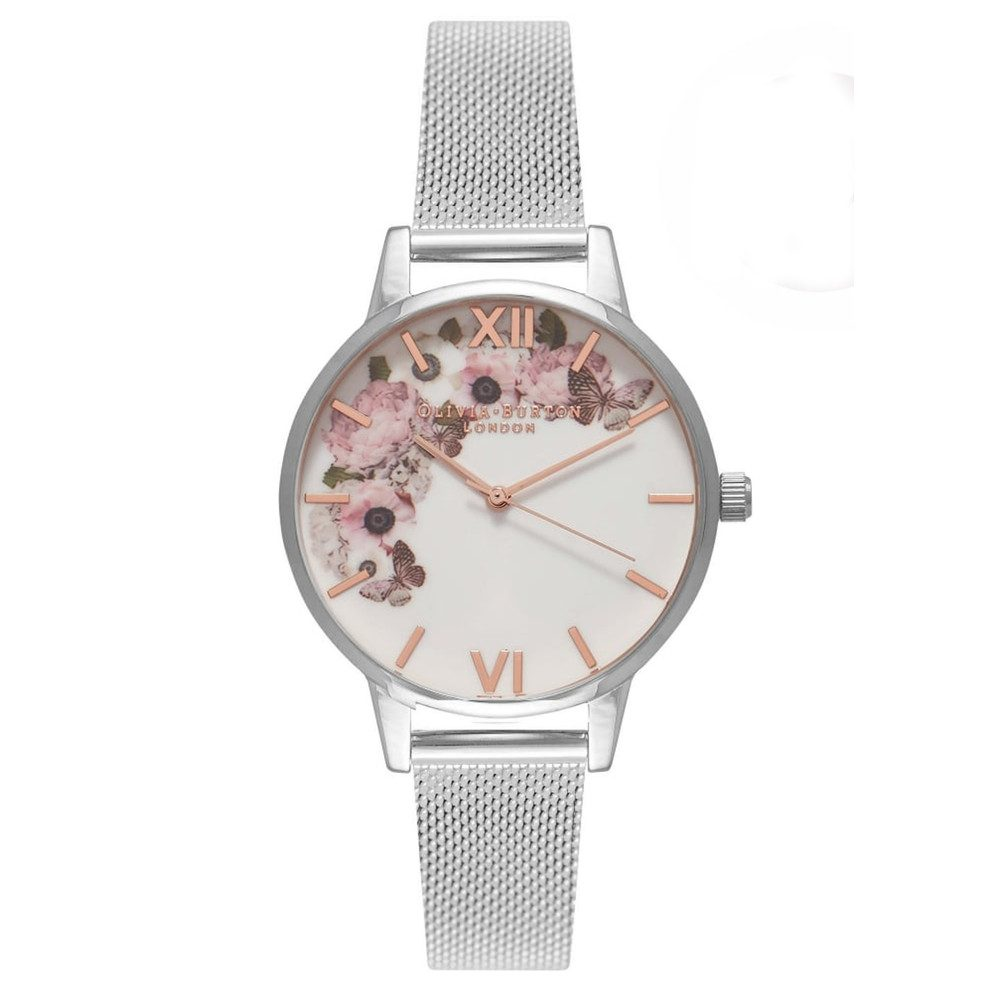 Midi Signature Florals Mesh Watch - Silver