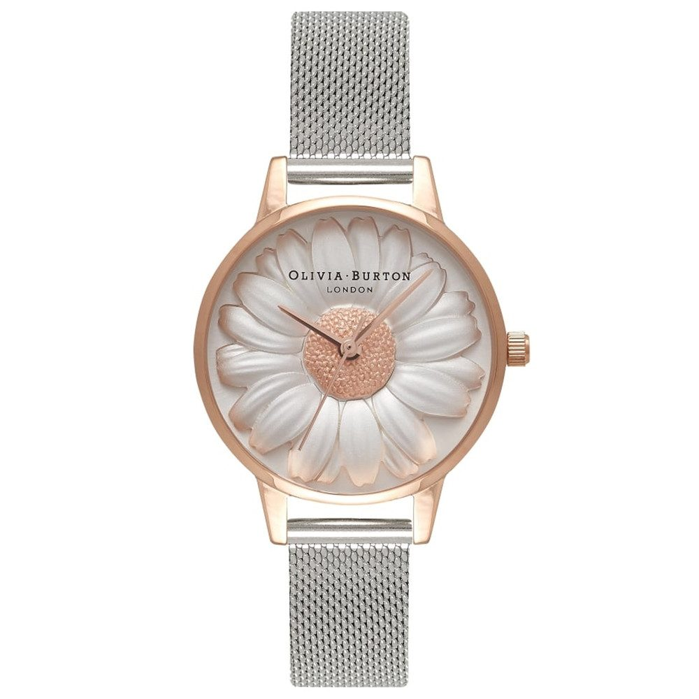 3D Daisy Mesh Watch - Rose Gold & Silver