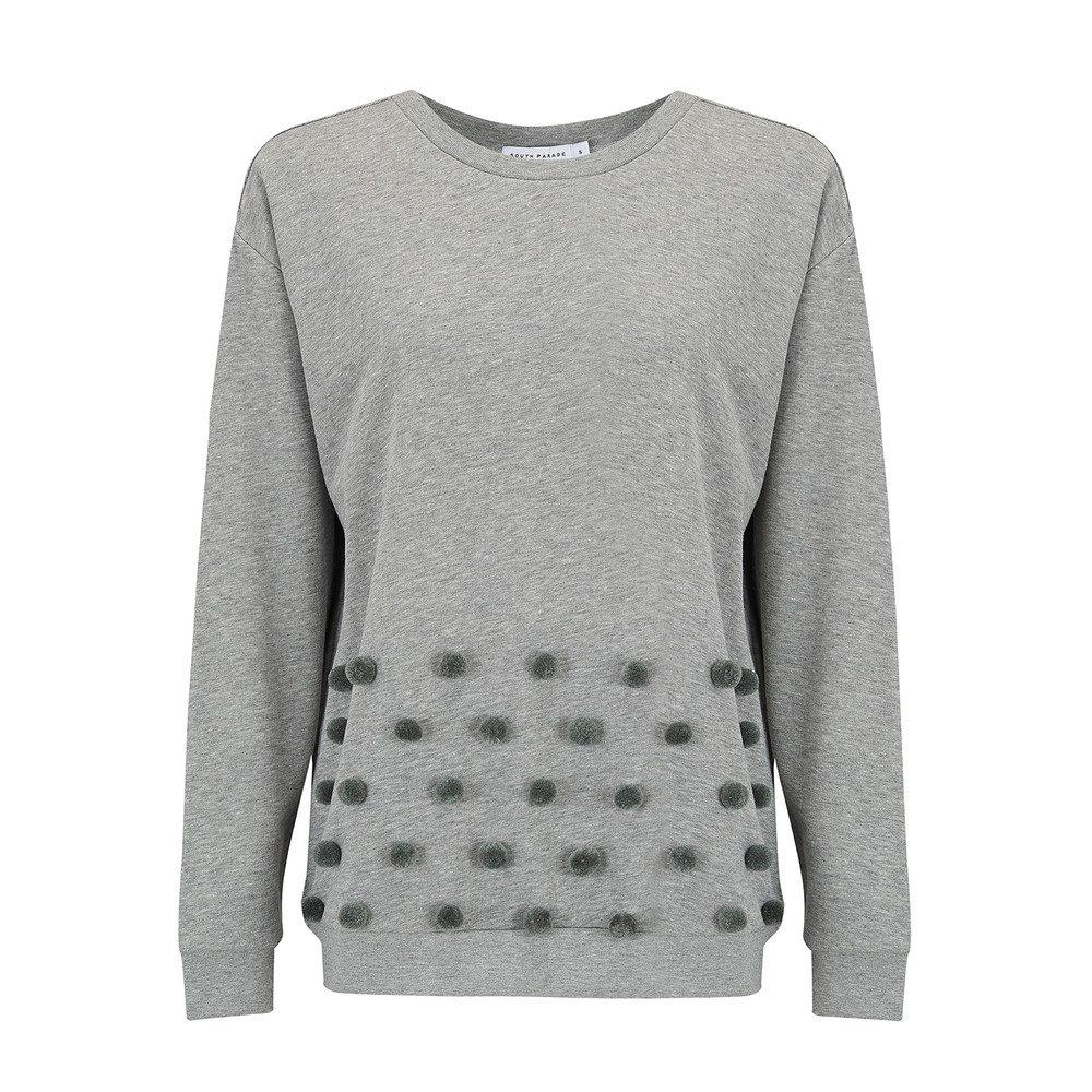 Alexa Pom Pom Sweater - Heather Grey
