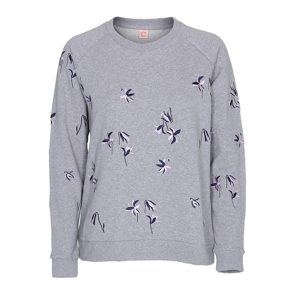Lotta Embroidered Sweatshirt - Grey Melange