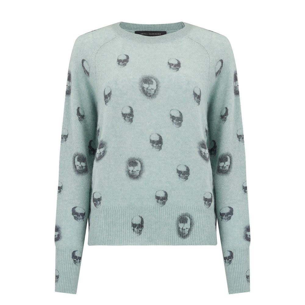 Skull Cashmere Ebony Cashmere Jumper - Canal & Charcoal
