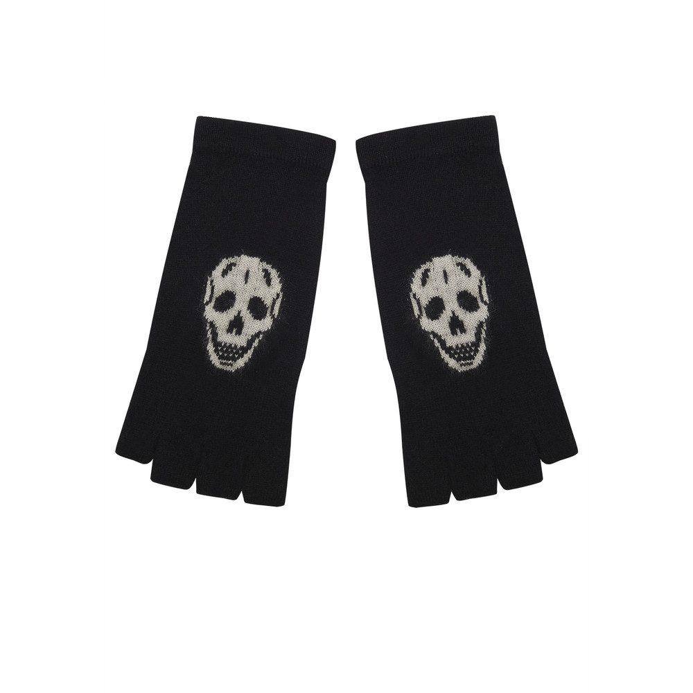 Skull Cashmere Fingerless Glove - Black & Cream