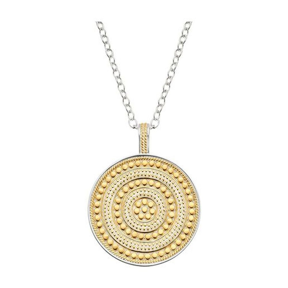 Beaded Reversible Circle Pendant Necklace - Gold & Silver