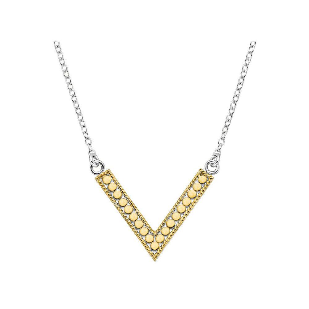 V Reversible Necklace - Gold & Silver
