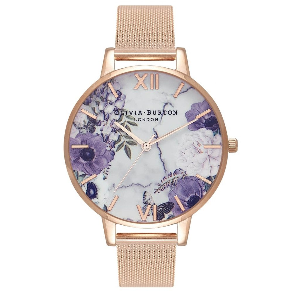 Marble Floral Mesh Watch - Rose Gold