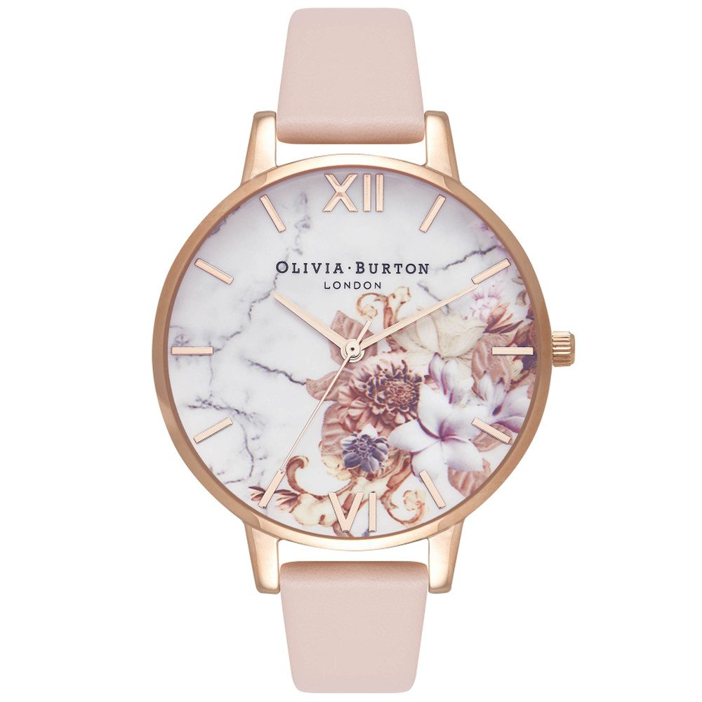 Marble Floral Watch - Nude Peach & Rose Gold