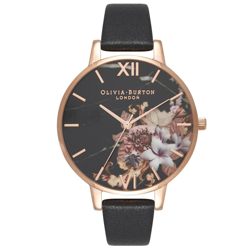 Marble Floral Watch - Black & Rose Gold
