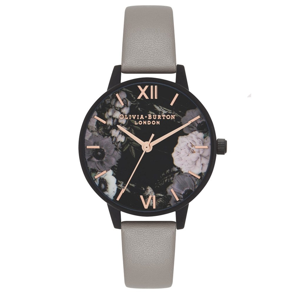 After Dark Matt Black Midi Dial Watch - Grey & Rose Gold
