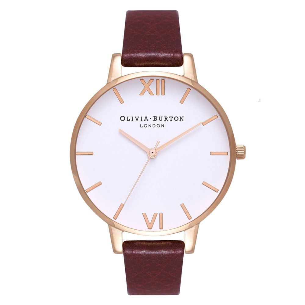 Big White Dial Watch - Burgundy & Rose Gold
