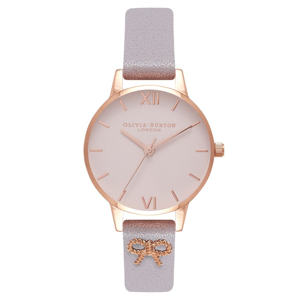 Vintage Bow Embellished Strap Watch - Grey Lilac & Rose Gold