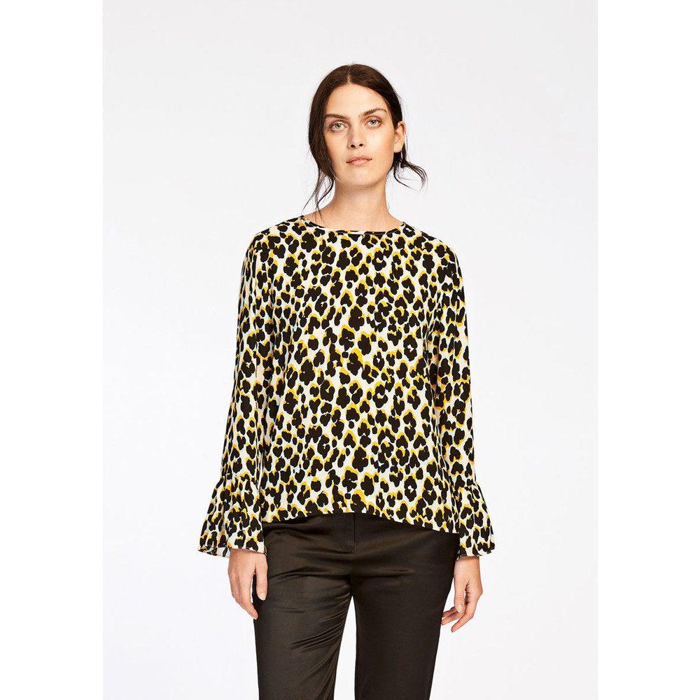 Serena Long Sleeve Top - Leopard Jaune