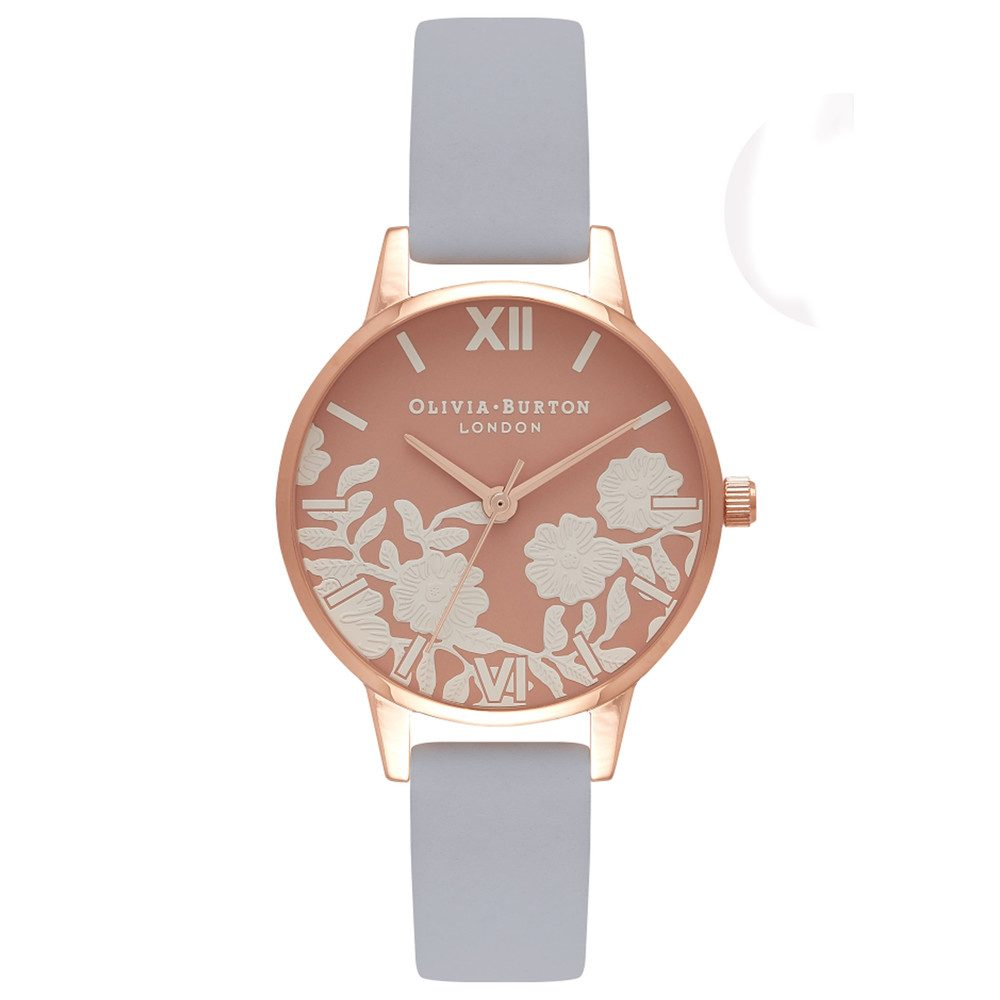 Lace Detail Rose Petal Dial Watch - Chalk Blue & Rose Gold