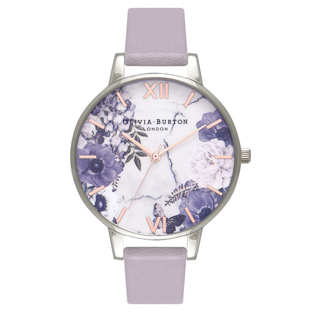 Marble Floral Watch - Grey Lilac, Silver & Rose Gold