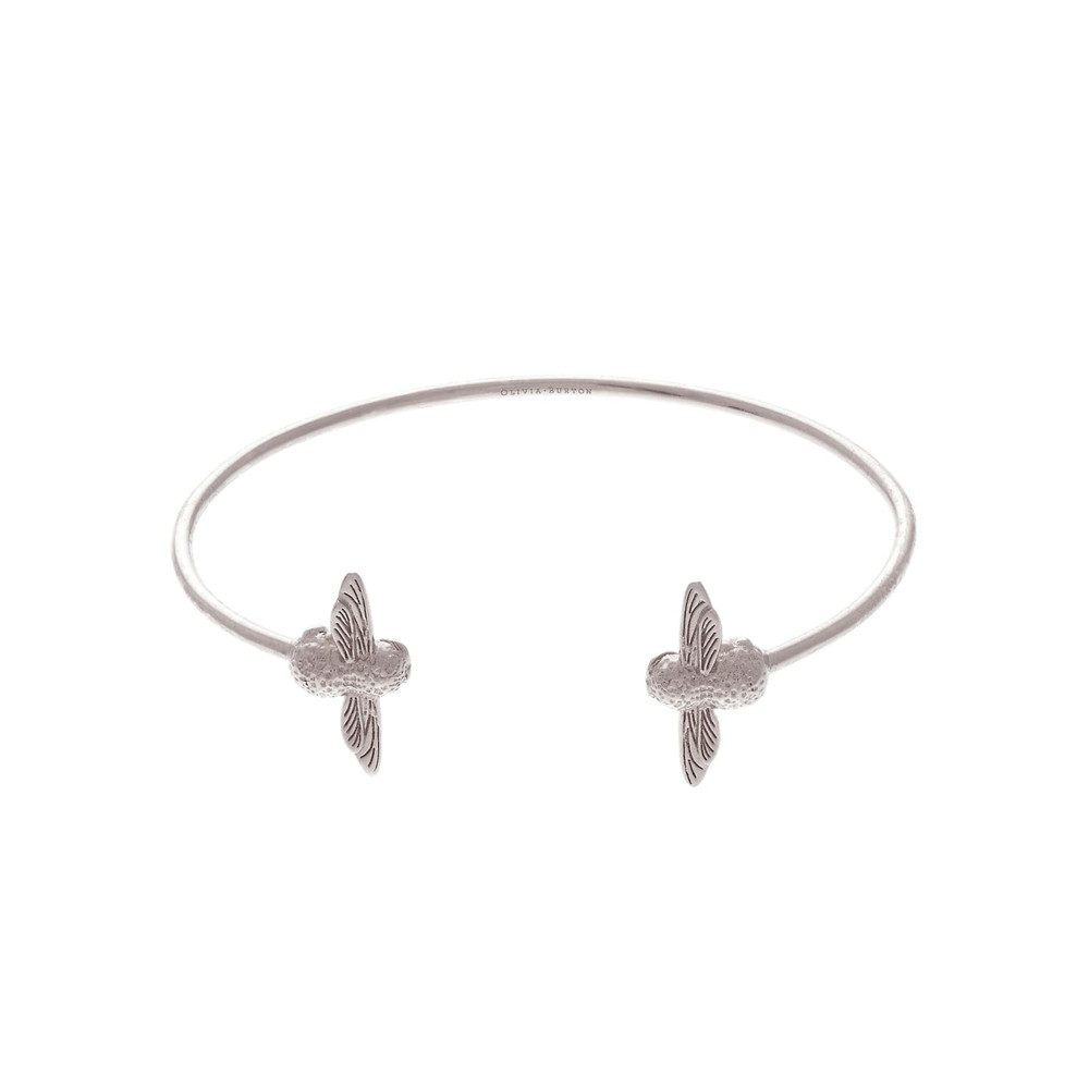 3D Bee Open End Bangle - Silver