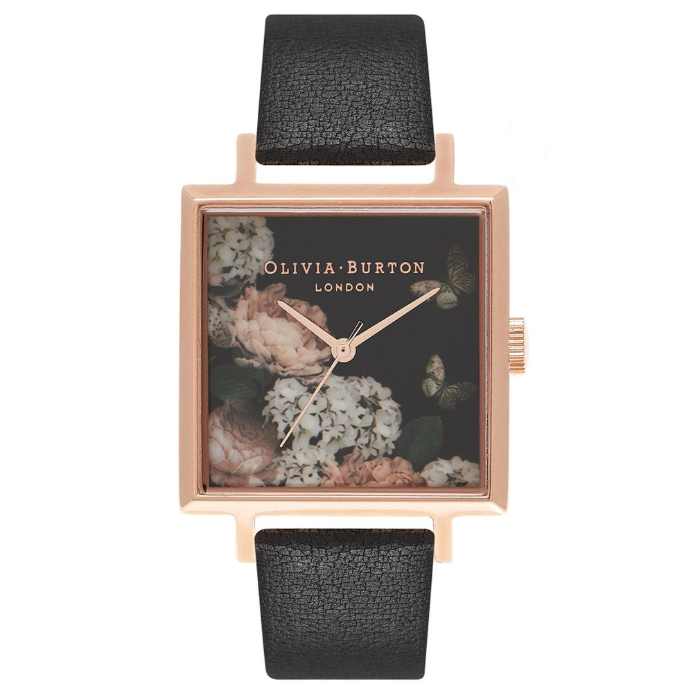 Signature Floral Big Dial Square Dial Watch - Black & Rose Gold