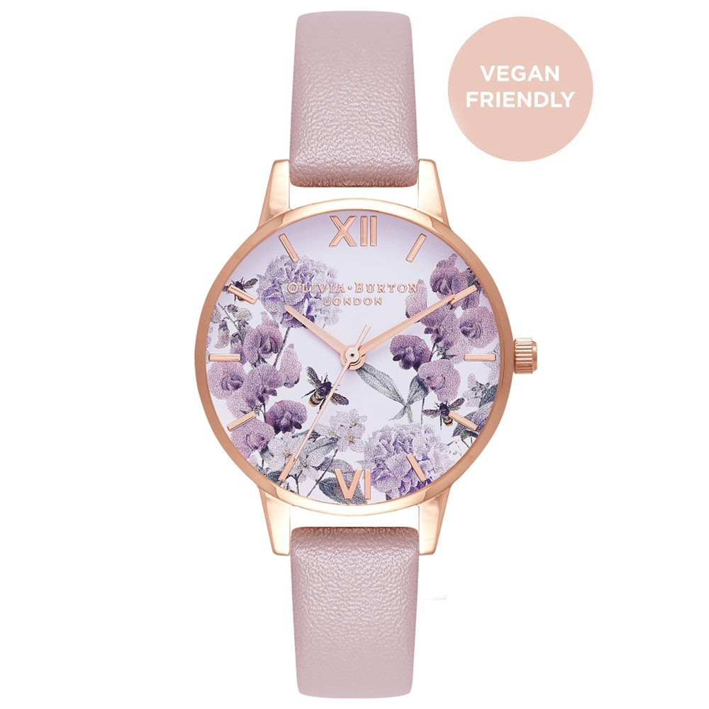 Vegan Friendly Enchanted Garden Midi Watch - Rose Sand & Rose Gold
