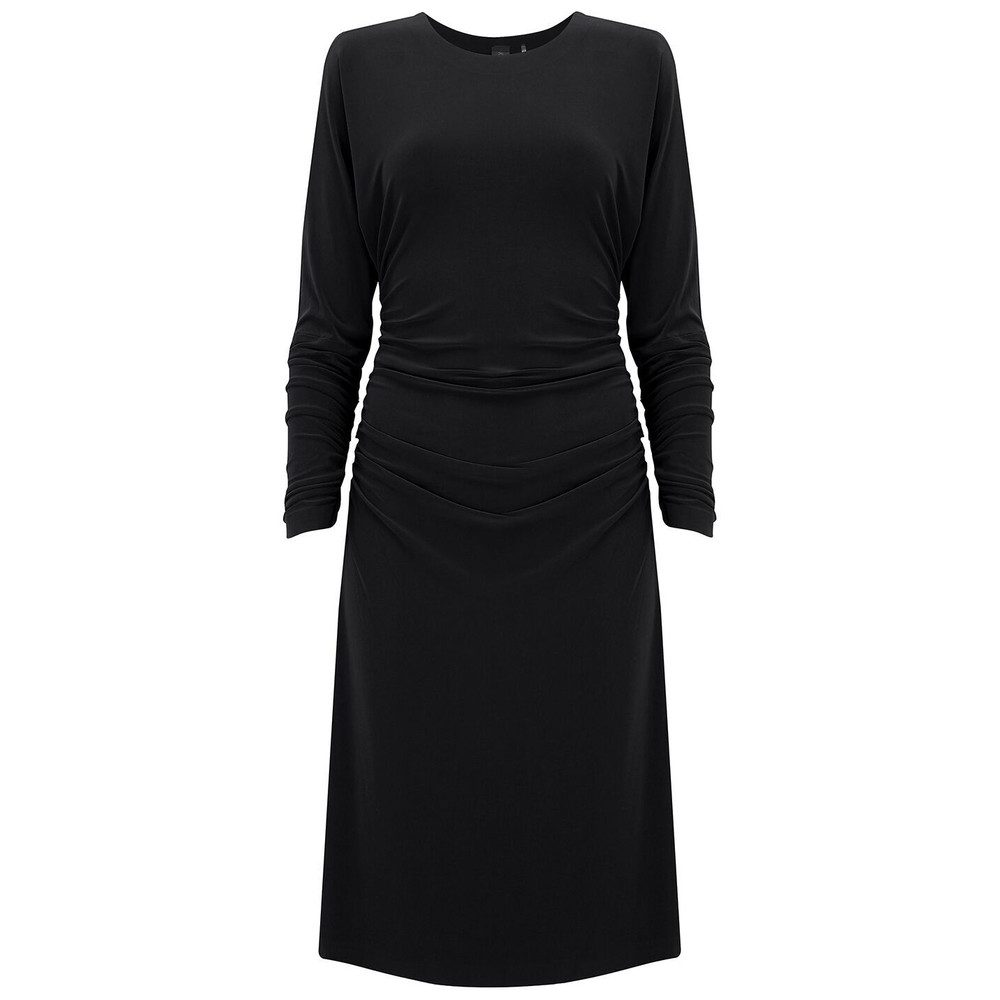 Dolman Shirred Waist Dress - Black
