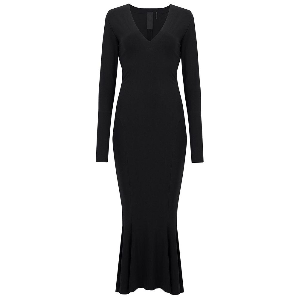 Long Sleeve Fishtail Midcalf Dress - Black