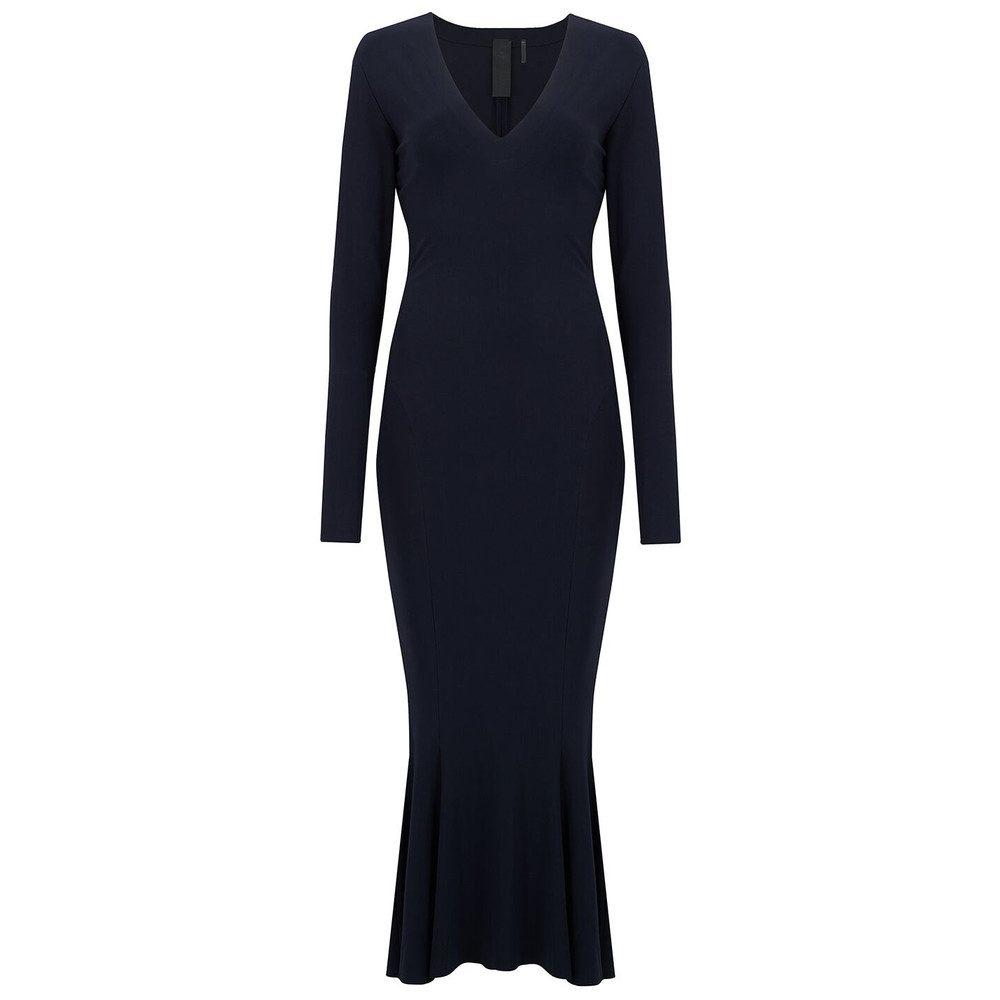 Long Sleeve FishTail Midcalf Dress - MIdnight