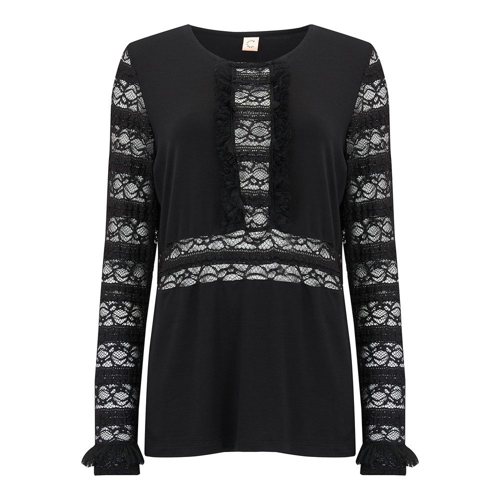 Annli Lace Top - Anthracite Black