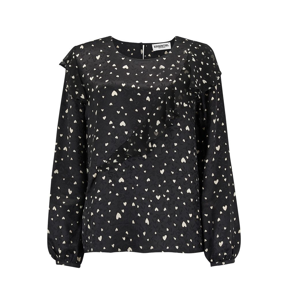 Oki Long Sleeve Frill Top - Combo 2 Black
