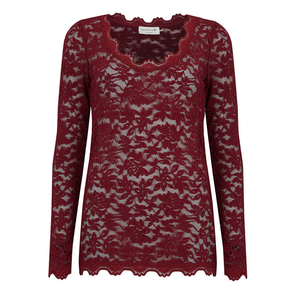 Delicia Long Sleeve Lace Top - Cabernet