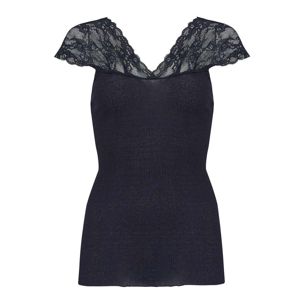 Silk Top with Lace - Navy