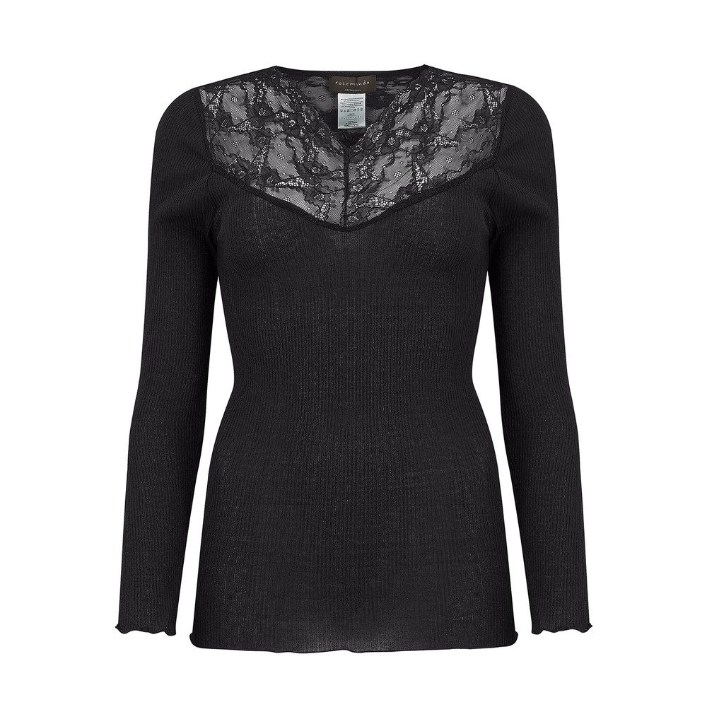 Long Sleeve Silk Tee - Black Night