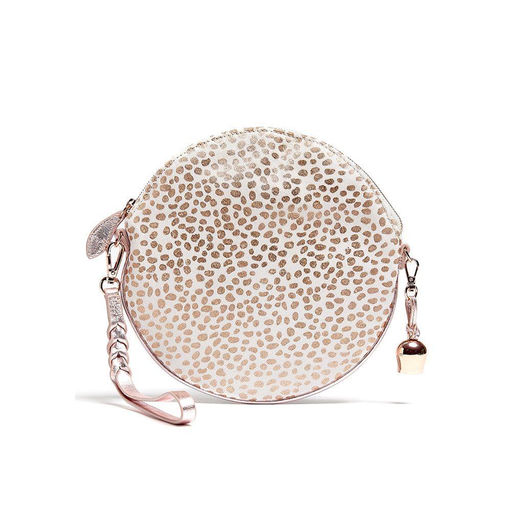 Round Pony Wristlet Bag - White & Rose Gold